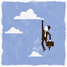 Businessman reaching for cloud