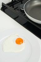 Fried egg ion dinner plate