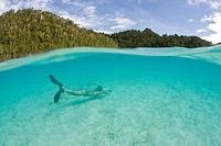 Diver in Lagoon, Raja Ampat, West Papua, Indonesia