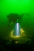 Diver at Nauset Barges Wreck, Cape Cod, Massachusetts, USA