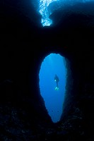 Scuba Diver and Swimthrough, Massa Lubrense, Sorrentine Peninsula, Campania, Thyrrhenian Sea, Mediterranean Sea, Italy
