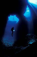 Scuba Diver exploring Blue Hole Cave of Vela Luka, Korcula Island, Dalmatia, Adriatic Sea, Croatia