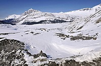 Canadian Rockies, Icefields glaciar. Drive from Banff to Jasper near Calgary, Alberta, Canada