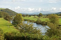 View from Crook O' Lune beauty spot in Lancashire looking towards Pen-y-Ghent in the Yorkshire Dales