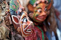 Mask dance in Patan's Royal Palace during Dasain festival