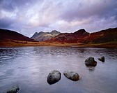 Blea Tarn and the Langdale Pikes near Little Langdale in the Lake District National Park, Cumbria, England, United Kingdom