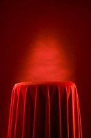 Table with red velvet cloth (thumbnail)