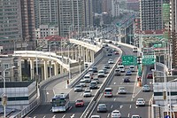 Busy freeway in Xujiahui District, Shanghai, China