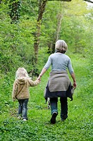 Mother and daughter out for a walk in the countryside