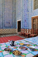 Tea house at Tash Khauli Palace, historic oldtown Ichan Kala, Chiva, Khiva, Unesco World Heritage Site, Silk Road, Uzbekistan, Central Asia