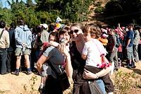 Caucasian tourists visiting Hani Culture Park, Xishuangbanna Dai Autonomous Prefecture, Yunnan Province, China