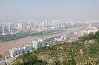View from Baita Mountain towards Yellow River, Lanzhou, Gansu Province, China