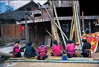 Yao women sewing, Huangluo Yao Village, Longsheng Various Nationalities Autonomous County, Guilin, Guangxi Province, China