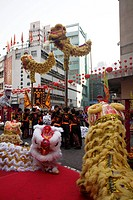 Lion dance during Spring Festival, Hong Kong, China