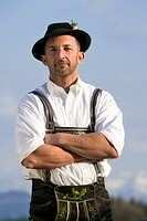 Germany, Bavaria, man, traditional costume, proud, half portrait,
