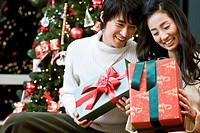 young man and woman with the Christmas tree and gift boxes
