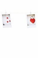 heart shapes hung on clothesline
