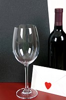 wine and wine glass with envelope
