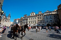 Horse carriages at Old Town Square in Prague. Prague. Czech Republic.
