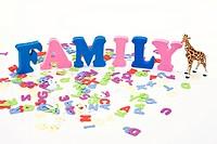 alphabet, animal shape and FAMILY
