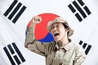 Explorer in front of Korean flag, Taegeukgi (thumbnail)