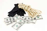 glove, string and dollars
