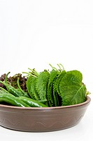 sesame leaf, green pepper and lettuce in bowl