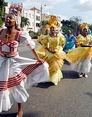 Youth dressed as orishas African deities in a parade in Havana Cuba