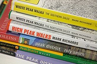 Peak District guide books in a pile