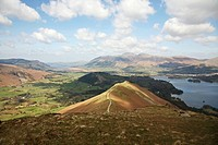 On top of Catbells looking down towards Derwent Water in the English Lake District National Park, Cumbria, England
