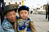 Father &amp; son in Mongolia