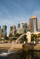 Merlion and Central Business District Singapore