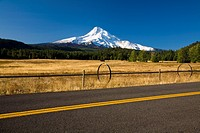 oregon, united states of america, view of mount hood from a road in hood river valley