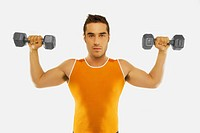 A Man Lifting Two Free Weights