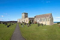 bamburgh, northumberland, england, a church cemetery