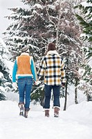 Young couple holding hands, walking in snow, rear view