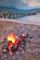 Campfire on the beach, Hanalei, Kauai, Hawaii, USA