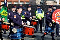 Dublin, Ireland, The Dublin Fire Brigade Pipe Band Playing Drums As They Go Down O´connell Street