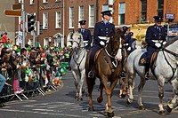 Dublin, Ireland, Police Riding Horses As Part Of A Parade Going Down O´connell Street
