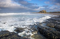 Stormy Sea at Bamburgh Castle Northumberland England