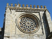 Rose window of cathedral, Evora, Portugal