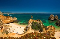 Algarve, Portugal, outside, Praia Th Camilo, coast, seashore, coastal scenery, scenery, nature, Praia do Camilo, rock, cliff, bay, beach, seashore, sa...