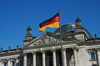 German Flag infront the German Bundestag