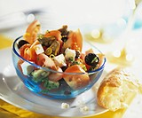 Tomato, mussel, feta and olive salad