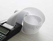 Adding machine tape with printout