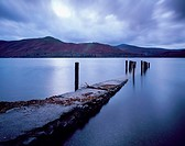 Barrow Bay landing stage underwater due to high rainfall at dusk  Derwent Water in the Lake District National Park near Keswick, Cumbria, England, Uni...
