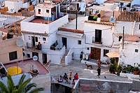 Sa Penya district, Ibiza City, Ibiza, Spain, elevated view