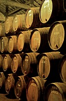 Port wine maturing in barrels in wine cellars, Vila Nova de Gaia, Porto, Portugal, Europe