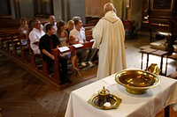 Catholic baptism, Saint Gervais, Haute Savoie, France, Europe