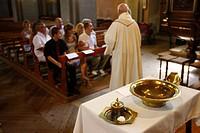 Catholic baptism, Saint Gervais, Haute Savoie, France, Europe
